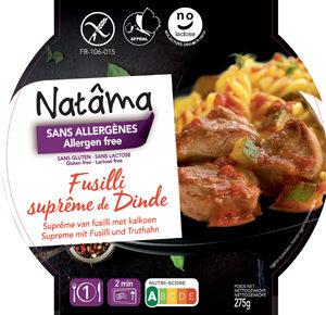 Tous les plats préparés sans gluten ! Fusilli suprême de dinde ©Natâma