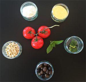 Les ingrédients pour réussir les mini-pizzas sans gluten ©Because Gus