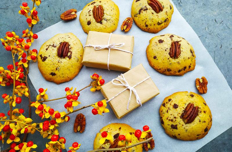 Cookies sans gluten au chocolat et noix de pécan